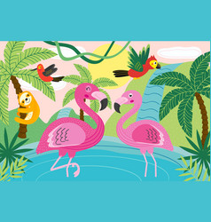 Animals in tropical nature vector