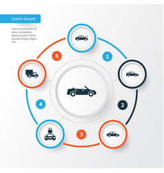 Auto icons set collection of lorry crossover vector