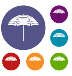 Beach umbrella icons set vector