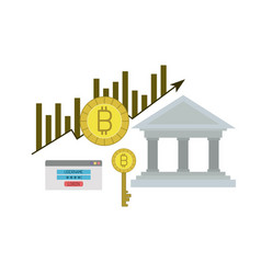 Bitcoin statistics bars growing of young currency vector