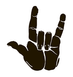 black silhouette realistic rock n roll hand vector image