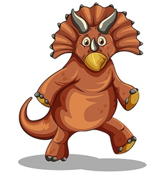 Brown dinosaur on white vector image vector image