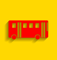 bus simple sign red icon with soft shadow vector image vector image