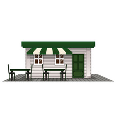 Coffee shope with green door and roof vector