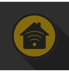 Dark gray and yellow icon - house with signal vector