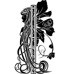 Decorative element in the art nouveau style vector image vector image