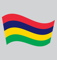 Flag of mauritius waving on gray background vector