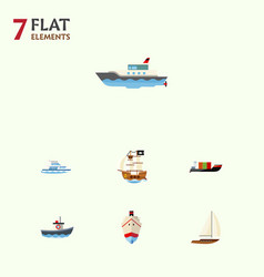 flat icon boat set of tanker vessel transport vector image vector image