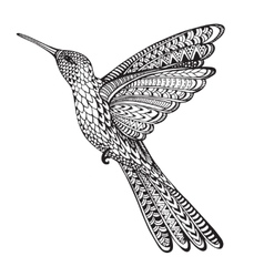 Hand drawn abstract flying colibri in ornate vector image