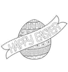 Happy easter zentangle egg decorated with ornament vector