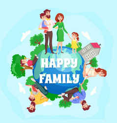 Happy family cartoon composition vector