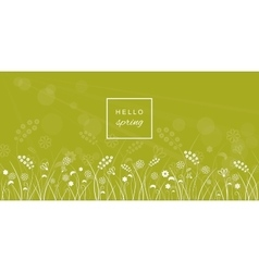 Hello spring letters on meadow blurred background vector