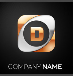 Letter d logo symbol in the colorful square on vector