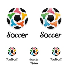 Logo with a soccer ball and united people icons vector