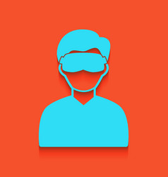 Man with sleeping mask sign whitish icon vector