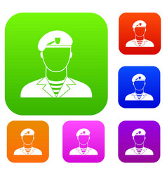 Modern army soldier set collection vector
