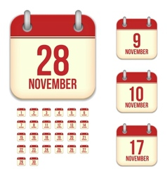 November calendar icons vector image