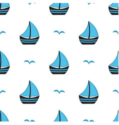 pattern with boat and gull vector image vector image