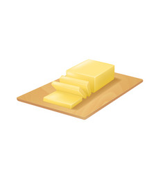 realistic detailed 3d butter on cutting board vector image