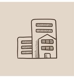 Residential buildings sketch icon vector
