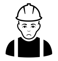 Sad contractor black icon vector