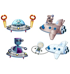 Spaceships with robot and a young boy near the vector image vector image