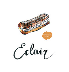watercolor eclair vector image