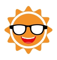 yellow avatar face sun graphic vector image
