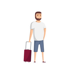 young travel man with suitcase icon vector image vector image