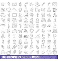 100 business group icons set outline style vector