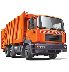 Orange garbage truck vector