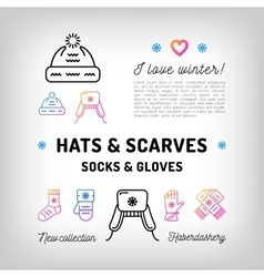 Winter hats and scarfs socks gloves mittens vector