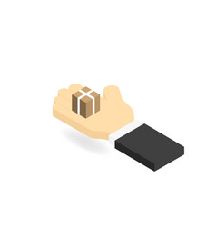 Mans hand and a box the concept of the delivery vector