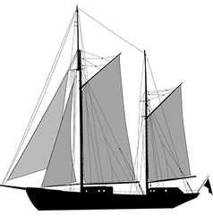 Sailing ship ketch vector