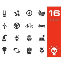 black eco icons set on white background vector image