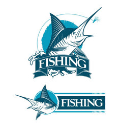 2 logo set emblem fishing marlin vector image vector image