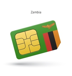 Zambia mobile phone sim card with flag vector
