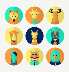 Set of stylized animal avatar vector