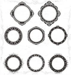Artistic circular frame vector