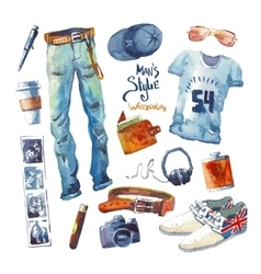 Men set of trendy look watercolor clothes vector