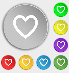Heart sign icon love symbol symbols on eight flat vector