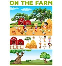 Children and animals on the farm vector