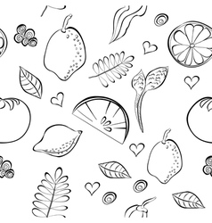 seamless pattern with fruit and vegetable vector image