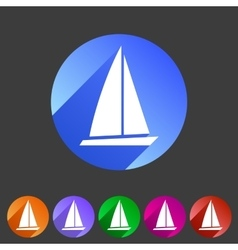 Sail boat yacht icon flat web sign symbol logo vector