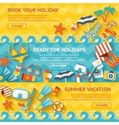 Beach Banner Flat Set vector image