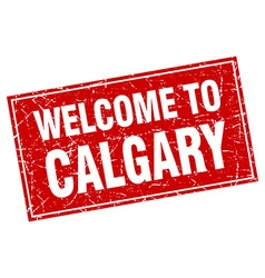 Calgary red square grunge welcome to stamp vector