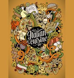 Cartoon hand-drawn doodles italian food vector