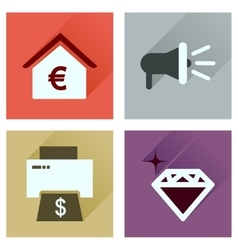 Concept of flat icons with long shadow economics vector