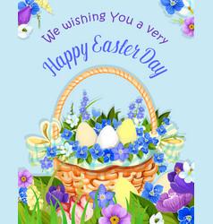 Easter eggs basket paschal poster design vector