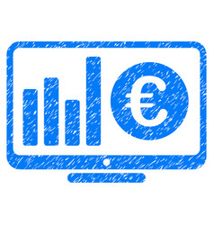 Euro market monitoring grunge icon vector